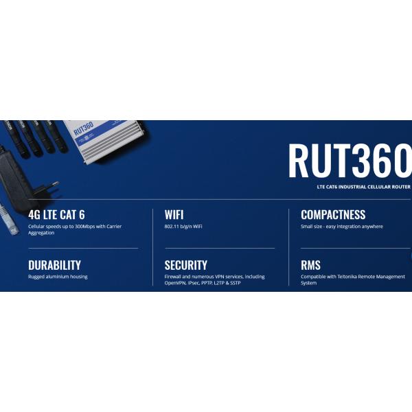 TELTONIKA RUT360 LTE CAT6 Endüstriyel Hücresel Router